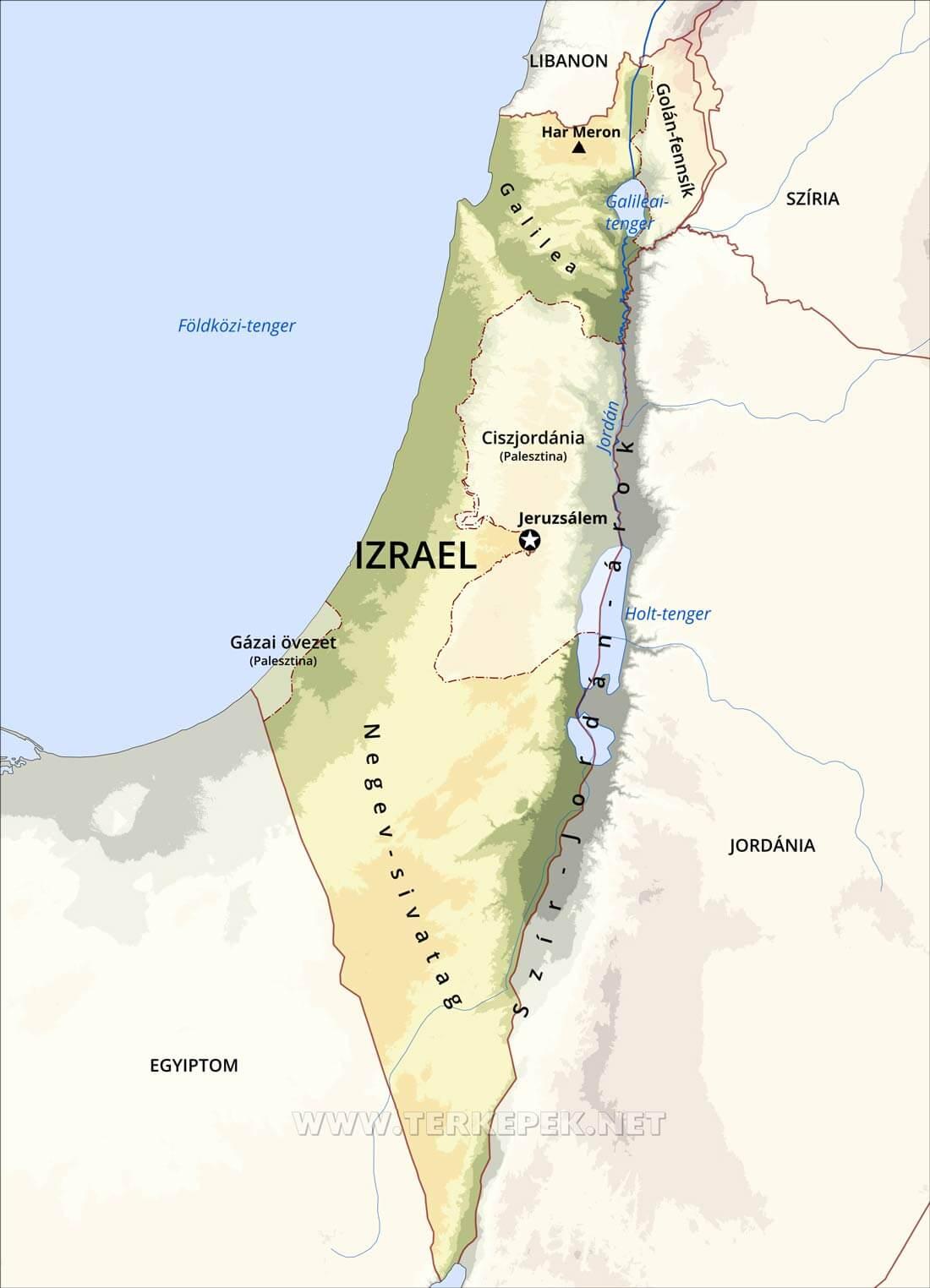 júdea térkép Izrael domborzati térképe